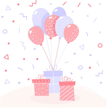 Gift boxes with a bow and balloons. Holiday present fly. Vector illustration isolated on white background 矢量图像