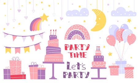 Attributes for a childrens holiday. Clipart for invitations or postcards