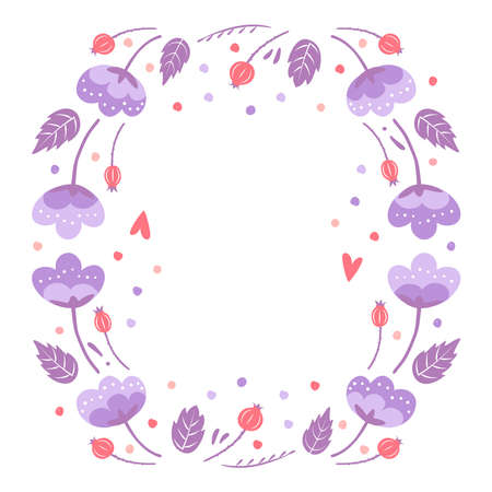 Floral frames for greeting card. To birthday celebrate, Valentines day. Romantic postcard. Vector illustration isolated on white background 矢量图像