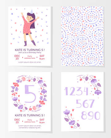 Frames with flowers, numbers and happy girl for greeting cards. To birthday celebrate, . Vector background on white background 矢量图像