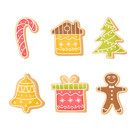 Set of Christmas ginger cookies. Homemade cookies for the new year. Seasonal clipart