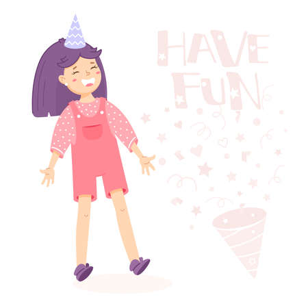 Girl is laughing and inscription have fun. Illustration in cartoon style. Greeting card for birthday. Welcome sign for the party. Birthday invitation