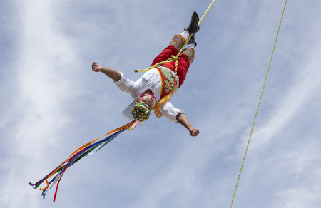 Tulum, Mexico, March 15th, 2017: ritual ceremony of the Voladores (Flying Men) Editöryel