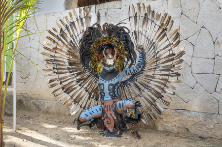 Tulum, Mexico, March 12th, 2017: Man in Maya indian costume