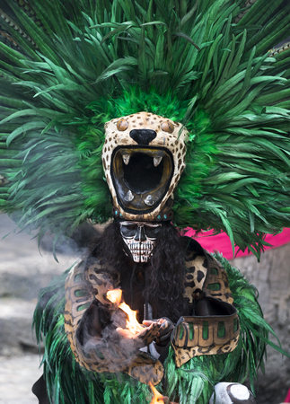 Tulum, Mexico, March 15th, 2017: Woman in Maya indian costume in Tulum, Mexico Editorial