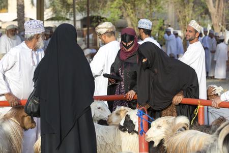Nizwa, Oman, June 23rd, 2017: omani people at a Habta market before Eid al Fitr
