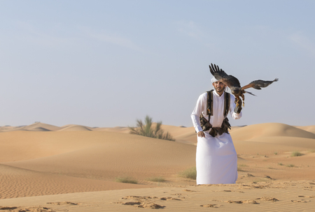Dubai, UAE, November 19th, 2016: A falconer in traditional outfit, training a Harrier Hawk (Polyboroides typus)
