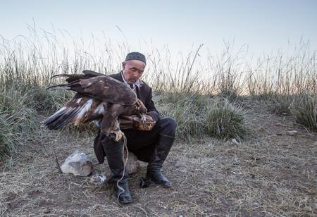 BAYAN ULGII, MONGOLIA - CIRCA OCTOBER 2015: eagle hunter feeding his eagle Stok Fotoğraf - 81828272