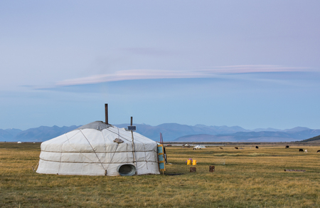 mongolian family gers in a landscape of northern Mongolia