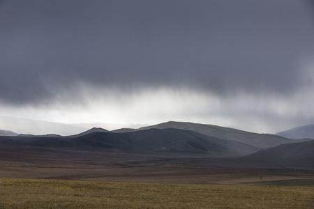 rain over Mongolian Landscape Stock Photo