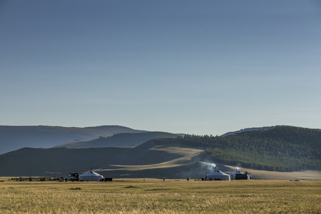 mongolian yurt, called ger,  in a landscape on northern mongolia