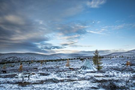 tsaatan family yurt in a landscape of northern Mongolia Stock Photo