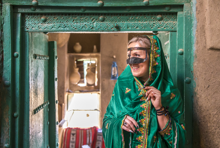 lady in traditional omani dress Stock Photo