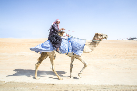 Madinat Zayed, United Arab Emirates, December 15th, 2017: arab man with his camel in a desert