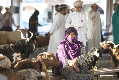 Sinaw, Oman, November 30th, 2017: bedhouin woman with her goats at a market Editorial