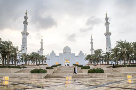 Abu Dhabi, United Arab Emirates, December 8th, 2017: grand mosque under a rain cloud