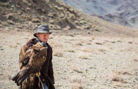 BAYAN ULGII, MONGOLIA - CIRCA OCTOBER 2015: a nomad man is walking with his eagle on his arm