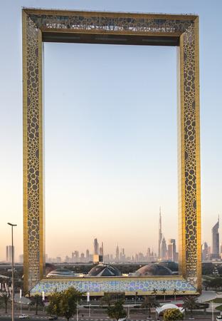 Dubai, United Arab Emirates, January 13th, 2018: Dubai Frame building at sunrise