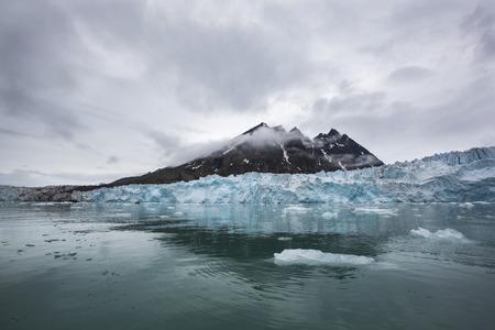 Massive Monaco Glacier in Archipelago of Svalbard in Norway