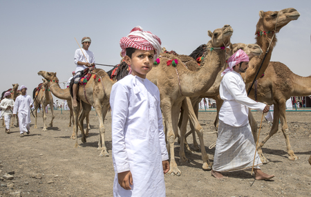 Ibri, Oman, 28th April 2018: omani people at a camel race in a countryside Editorial