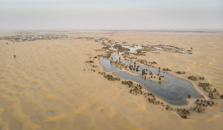 aerial view of al Qudra desert and lakes near Dubai
