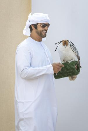 Madinat Zayed, United Arab Emirates, 22nd December, 2018: emirati man training his falcon