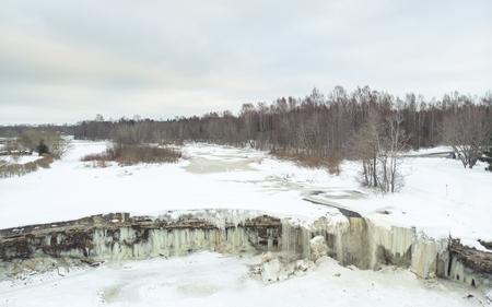 frozen jagala waterfall near Tallinn, Estonia