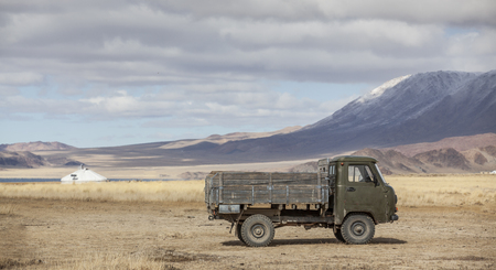 old car in a landscape of Mongolia