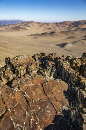 ancient petroglyphs in Altai mountains, Western Mongolia