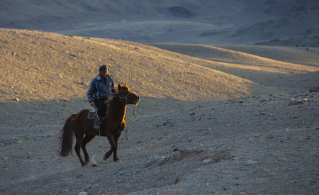 bayan Ulgii, Mongolia, 2nd October 2015: rider in a landscape of Western Mongolia