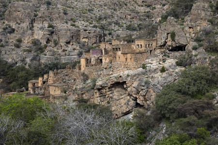 old abandoned houses in a nature of Jebel Al Akhdar, Oman