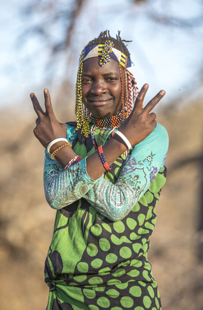 Lake Eyasi, Tanzania, 12th September 2019: Hadzabe woman in traditional clothing in a nature where she lives