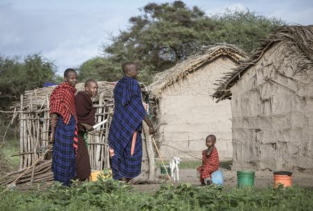 same, Tanzania, 4th June 2019: maasai men docialising