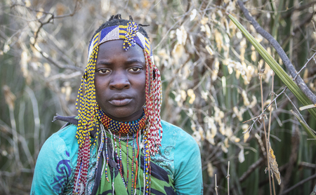 lake Eyasi, Tanzania, 11th September 2019: portrait of a young hadzabe woman 報道画像