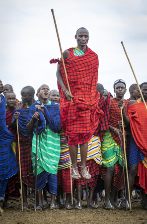Same, Tanzania, 5th June, 2019: young  Maasai warrior in full traditional party outfit, jumping with pride Éditoriale