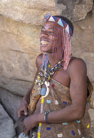 lake Eyasi, Tanzania, 11th September 2019: portrait of a hadzabe man