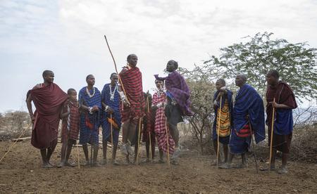 Arusha, Tanzania, 7Th September 2019: Maasai warriors jumping to impress ladies