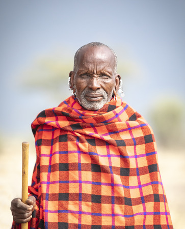 Arusha, Tanzania, 7Th September 2019: Maasai warriors in a landscape of northern Tanzanian savannah Editorial