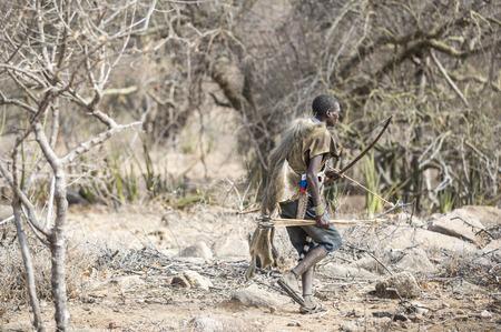 Lake Eyasi, Tanzania, 11th September 2019: Hadzabe hunter in the nature of norther Tanzania