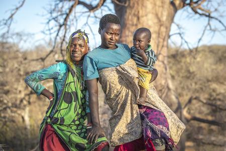Lake Eyasi, Tanzania, 11th September 2019: Hadzabe ladies in nature Editorial