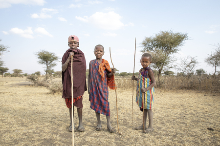 Arusha, Tanzania, 7th September 2019: maasai kids