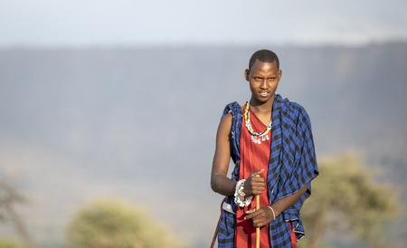 Arusha, Tanzania, 7th September 2019: portrait of a young maasai warrior Editorial