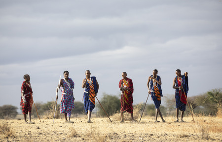 Ngorongoro, Tanzania, 10th September 2019: maasiai warriors in a landscape of Northern Tanzania Editorial
