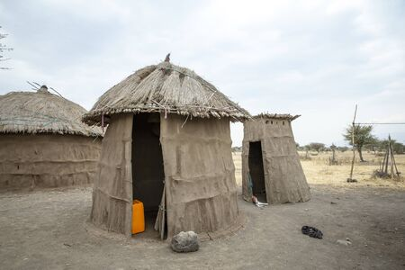 maasai store house and outdoor kitchen Stok Fotoğraf