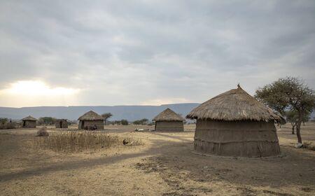 maasai village at sunset