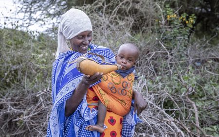 Same, Tanzania, 4th June, 2019: Maasai woman feeding her baby cows milk from traditional calabash