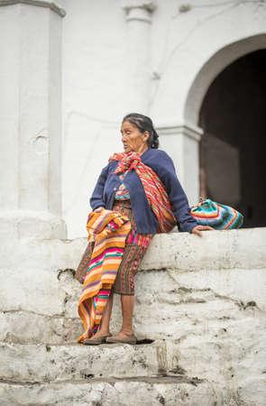 chichicastenango, Guatemala, 27th February 2020: mayan woman resting at the traditional market of Chichicastenango Editöryel