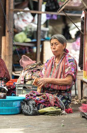 chichicastenango, Guatemala, 27th February 2020: mayan women at the traditional market