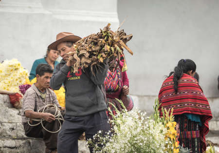 chichicastenango, Guatemala, 27th February 2020: mayan people at the traditional market selling and buying crafts