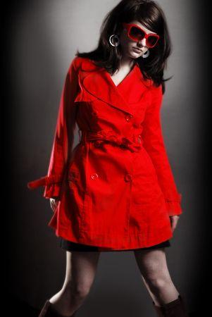 Attractive / Funky 60's retro woman on dark backround Stock Photo - 5156365